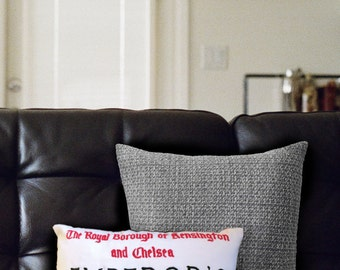 Hand Embroidered London Street Sign Cushion - Kensington & Chelsea