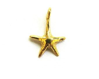SALE  Small Vermeil Starfish Charm 16 mm 2 pcs CH205s