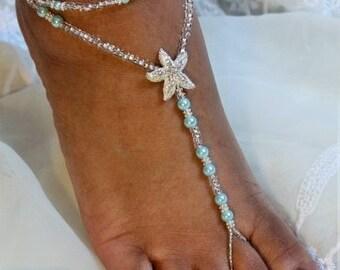 Aqua Foot Jewelry Aqua Beach Wedding Pearl Turquoise Barefoot Sandal Destination Bride Bridesmaids Gift Soleless Shoe