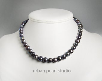 Black Pearl Necklace, Pearl Choker Necklace, Freshwater Pearls, Simple Strand of Black Pearls