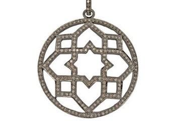 Diamond Art Deco Pendant with Pavé Bail! 43mm Beautiful Diamond Statement Pendant! 3.3 Carats of Diamonds!