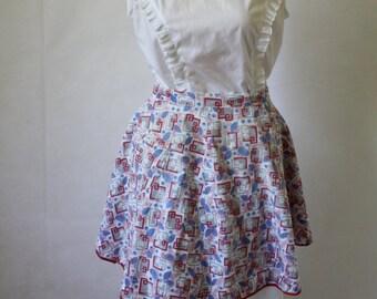 Vintage Apron / 1940's Apron / Mid Century Apron / Hostess Apron / Red White N Blue / Vintage Cotton Apron S to XL