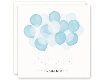 NEW BABY BOY Card, Blue Balloons, Square, High Quality Fine Art Paper and Envelope, Blank Inside