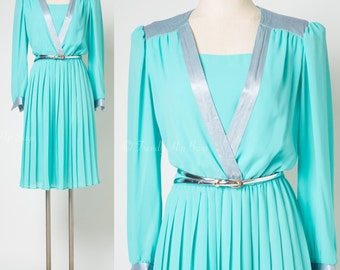 60s Dress, Seafoam green Dress, Mad Men Dress, 60s Secretary dress, Sheer dress, Vintage formal dress - S/M