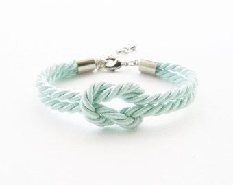 Light mint tie the knot bracelet - bridesmaid bracelet - wedding favors - will you be my bridesmaid bracelet -nautical wedding gift