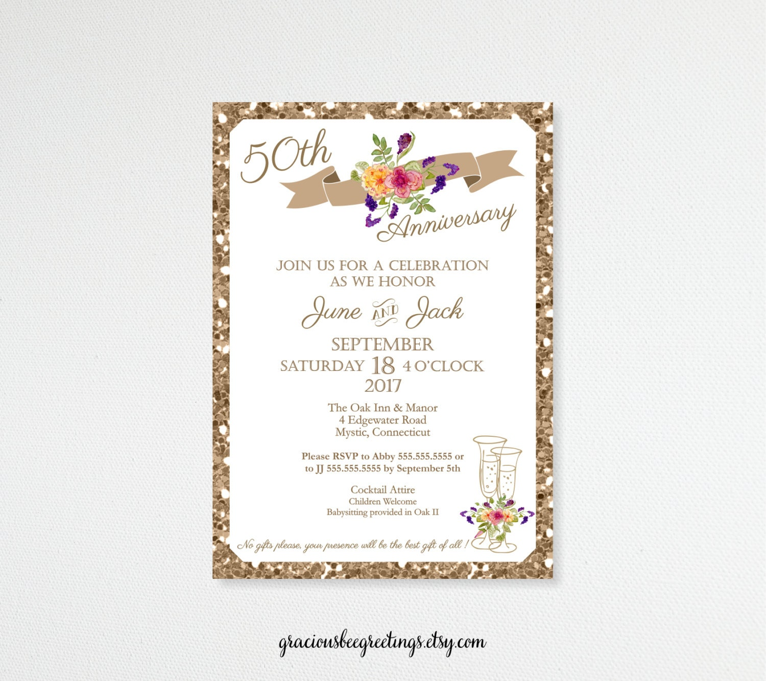 anniversary invitations 5th 15th 20th 25th 35th 50th