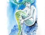 Mermaid Watercolor Study - original watercolor painting study of green blue mermaid relaxing in the ocean