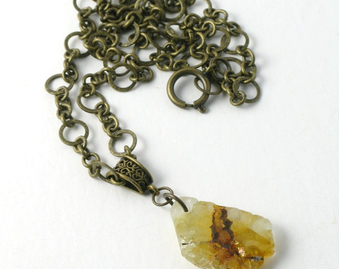 "Rhode Island Rusted Chicken Wire Sea Glass on an Antique Brass Bail and Chain with an Oversized Round Spring Clasp, 16""-24"""