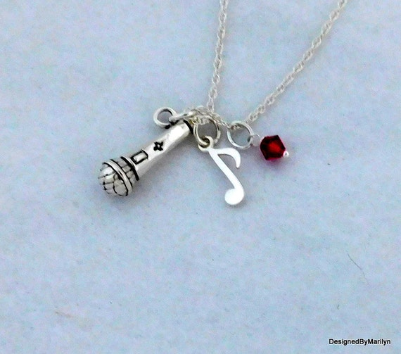 Sterling silver microphone necklace, musician necklace, personalized necklace, music instructor, music student