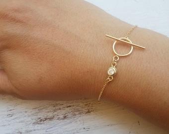 Gold bracelet,CZ bracelet,toggle bracelet,delicate bracelet,gold cz bracelet,gift for her -21241