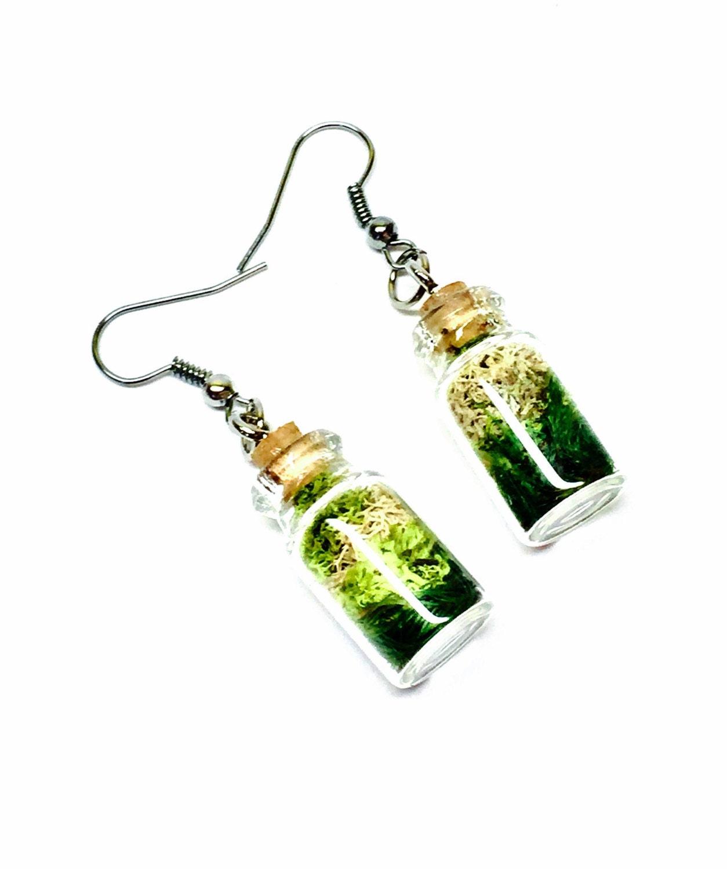 terrarium earrings moss jewelry glass bottle earrings by