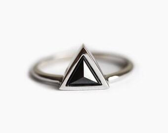 Black Engagement Ring, Black Diamond Ring, Modern Engagement Ring, Modern Diamond Ring, Black Trillion Diamond Ring, Rose Cut Diamond Ring