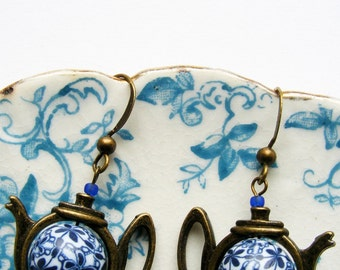 Navy blue and white teapot earrings with handmade polymer clay bead