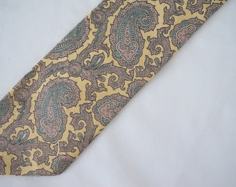Beautiful Vintage Linen Paisley Pastel Necktie Men Fashion
