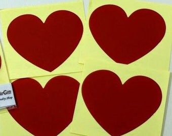 Heart Shaped Scratch Off Stickers - Red 5 pc - Secret Messages Game Scratchies Prizes