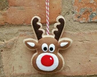 Handmade felt Rudolph reindeer ornament