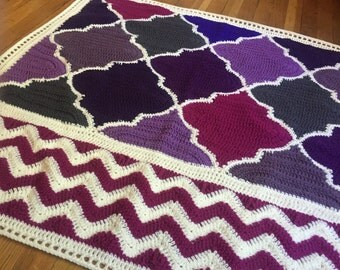Crochet Trellis and Chevron Baby Blanket - Ready to Ship - Baby Girl Blanket - Handmade Shower Gift