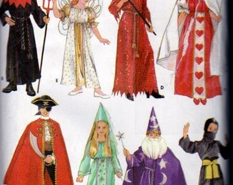 Simplicity 5930  Kids Costume Pattern Angel, Queen of Hearts, She Devil, Grim Reaper, Ninja, Princess, Pirate, Size 25 to 32 Inch Chest