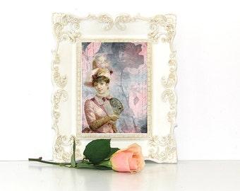 Victorian woman portrait pink wall art