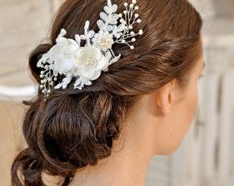 Wedding Hair comb,  Bridal Headpiece, Wedding Headpiece,  Bridal  Hair Piece, Rose Gold Bridal Hair Comb, Wedding Hair Flower, UK  - AMÉLIE