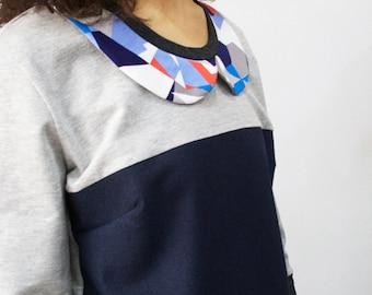 Peter pan shirt, peter pan collar blouse, blue collar blouse, peter pan blouse, geometric print, casual shirt