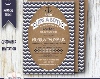 Ahoy Its a Boy, Nautical Baby Shower Invitation, Nautical Theme Baby Shower, Nautical Baby Shower Ideas, Navy Blue and White Anchor