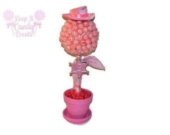 Cow Girl Lollipop Candy Topiary, Cow Girl Birthday Centerpiece, Pink Sheriff Candy Topiary, Cowgirl Candy Centerpiece, Cowgirl Birthday