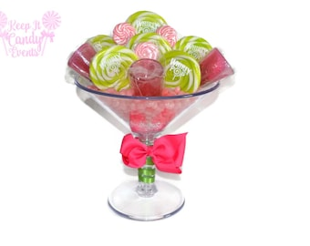 Large Martini Glass Lollipop Candy Arrangement , Pink and Green Lollipop Centerpiece,  Martini Candy Centerpiece, 21st Birthday Candy Decor