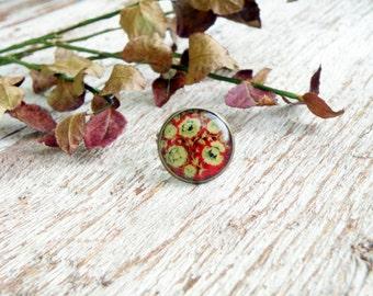 Red Khokhloma ring Red yellow ring Folk art Slavic jewelry Russian style Khokhloma jewelry Ethnic ring Boho ring Boho chic ring Rustic ring