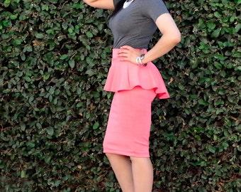 High Low Peplum Pencil Skirt - Long Knee Length Skirt - Midi Skirt - Womens Skirt - Petite Pencil Skirt - Plus Size High Low Skirt - Tall