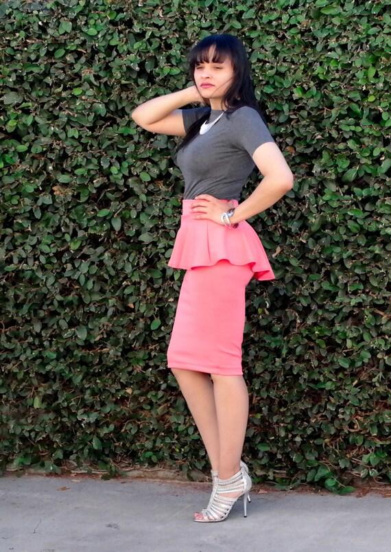 high low peplum pencil skirt knee length by