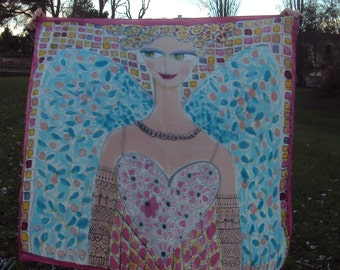 Silk scarves with Angel painting