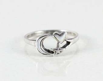 Sterling Silver  Moon Star Heart Ring Band size 9 1/2