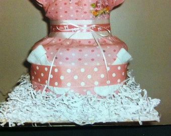 2 tier dress diaper cake with goodies