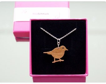 throstle, bird chain, silver necklace, little bird, thrush, wooden necklace, laser cut