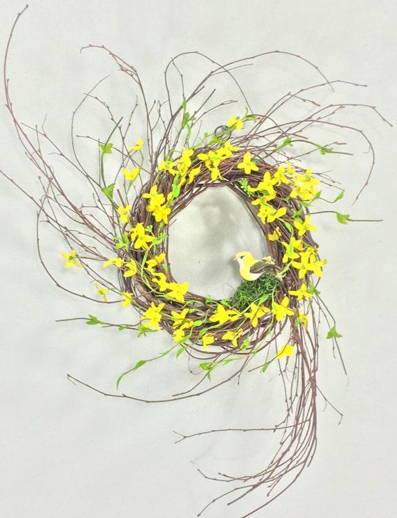 Forsythia wreath yellow - Forsythia Wreath Spring Wreath Spring Door By