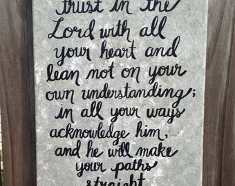 """Bible Verse Canvas Art - Hand Lettered - Grey, Silver and Black - """"Trust in the Lord with all your heart..."""" Proverbs 3:5-6"""