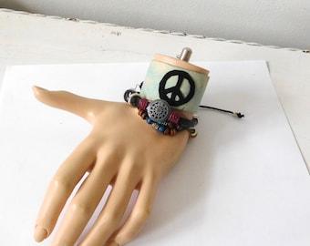 Leather Bracelet Set Beaded Adjustable Peace Sign Hippie Jewelry Boho Style Hand Dyed