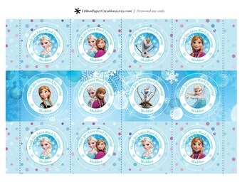 Frozen Printable Favor Gift Thank You Tags 8 Designs Digital Download