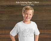 Coloring Book Page T-Shirt - Boys Hungry Bear