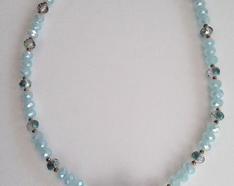 Aquamarine and Labradorite Stone Necklace