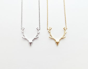 Deer Antler Charm Necklace - Personalized (Gold or Silver)