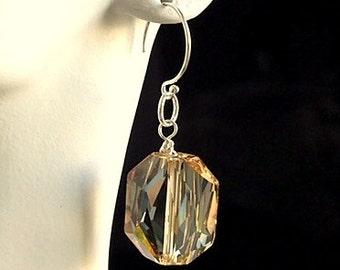Golden Tone Geometric Crystal Earrings - Multifaceted Swarovski Light Golden Geometric Crystal Earrings