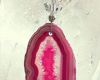 Girls Hot Pink Agate Slice Suncatcher/Sun Catcher/Rainbow Maker/Window Decor