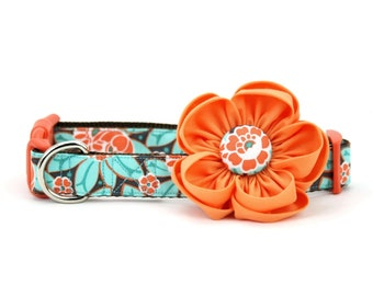 Orange Dog Flower Collar Mint Green Coral Floral Girly Fancy Girl Dog Collar - Amelia