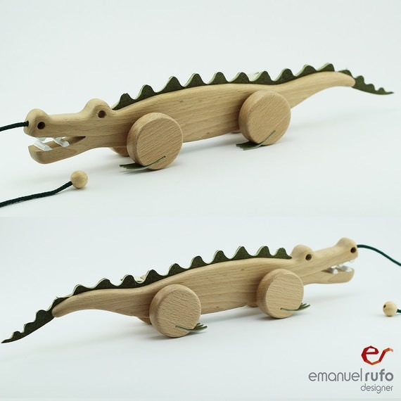Toys Are Us Wooden Toys : Wooden toy pull croc eco friendly hand crafted