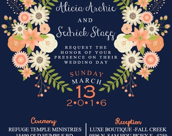 Floral Printable Wedding Invite