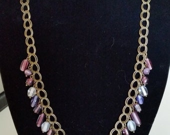 Antique Bronze and Purple Beaded Necklace