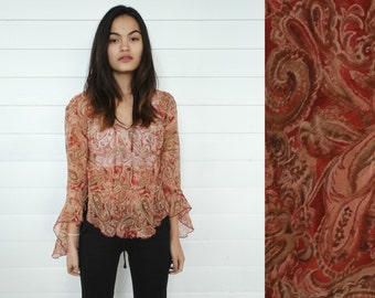 1990s paisley sheer top - vintage 90s shirt - deep red pink maroon - boho hippie - bell angel sleeves - 1970s 70s style - small s