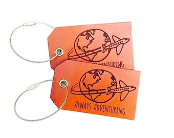 Always Adventuring Luggage Tag, Wedding Favors, Travel, Customized, Quote, Globe, Gifts For Traveler, Adventurer, Airplane, Baggage Tag,